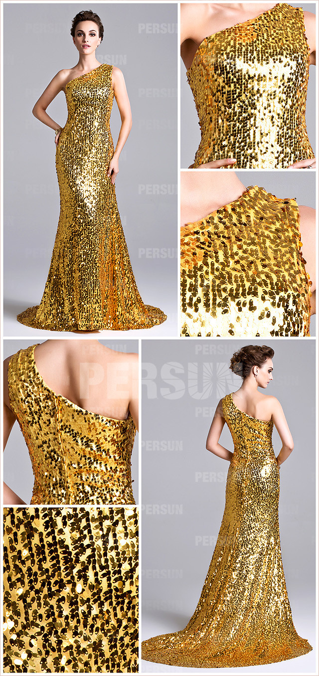 Yellow One shoulder Sequins Evening Formal Gown with Court Train