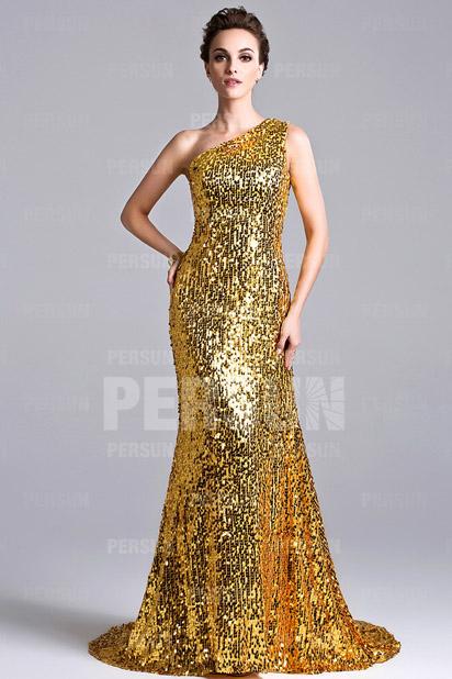 Ein Schulter Etui-Linie langes goldes Abendkleider aus Sequins Persun