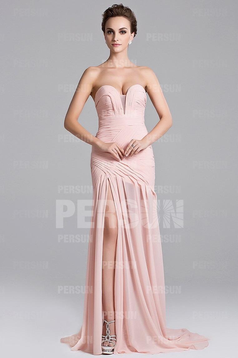 Sexy robe cérémonie rose fendue à bustier ruché