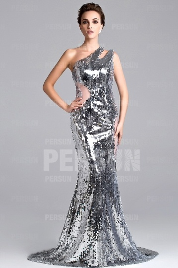 Silver Sheer Sequin Prom / Evening Dress with Brush train