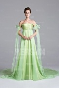 Robe verte pastel à épaule dénudée