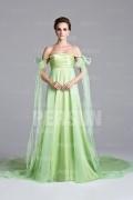 Off shoulder Green tone Evening Dress