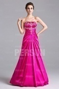 Chic A line Beading Pink Tone Strapless Formal Dress