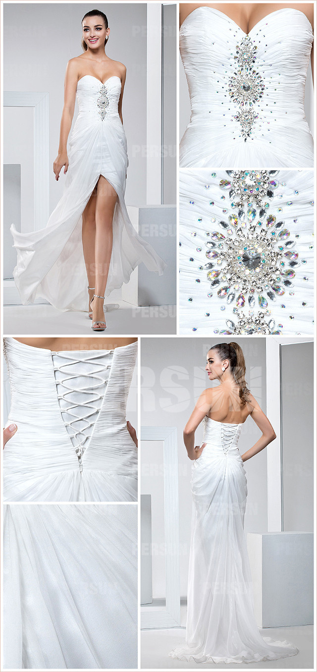 Split front White Formal Dress with Sweetheart neckline detail design
