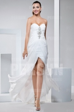 Split front White Formal Dress with Sweetheart neckline