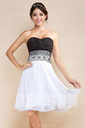 Vintage Column Sweetheart Black And White Chiffon Bridesmaid Dress
