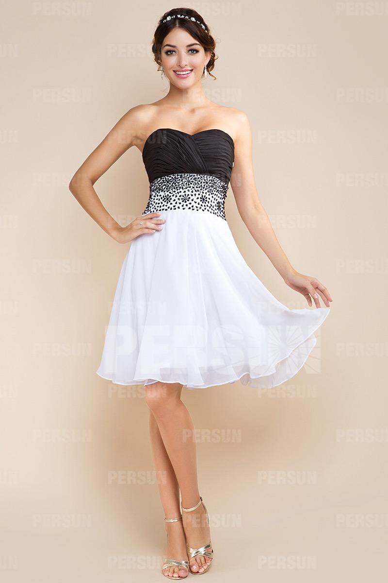 Herz-Ausschnitt schwarz-weiß kurz Sequins Perle Abendkleid