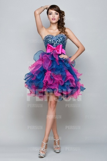 Dressesmall Floral Color block blue rose pink Mini Sweet 16 short Dress with Bowknot and Beading Details strass bust
