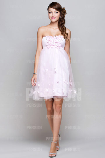 Dressesmall Petal Pink Tulle Short Cocktail Dress