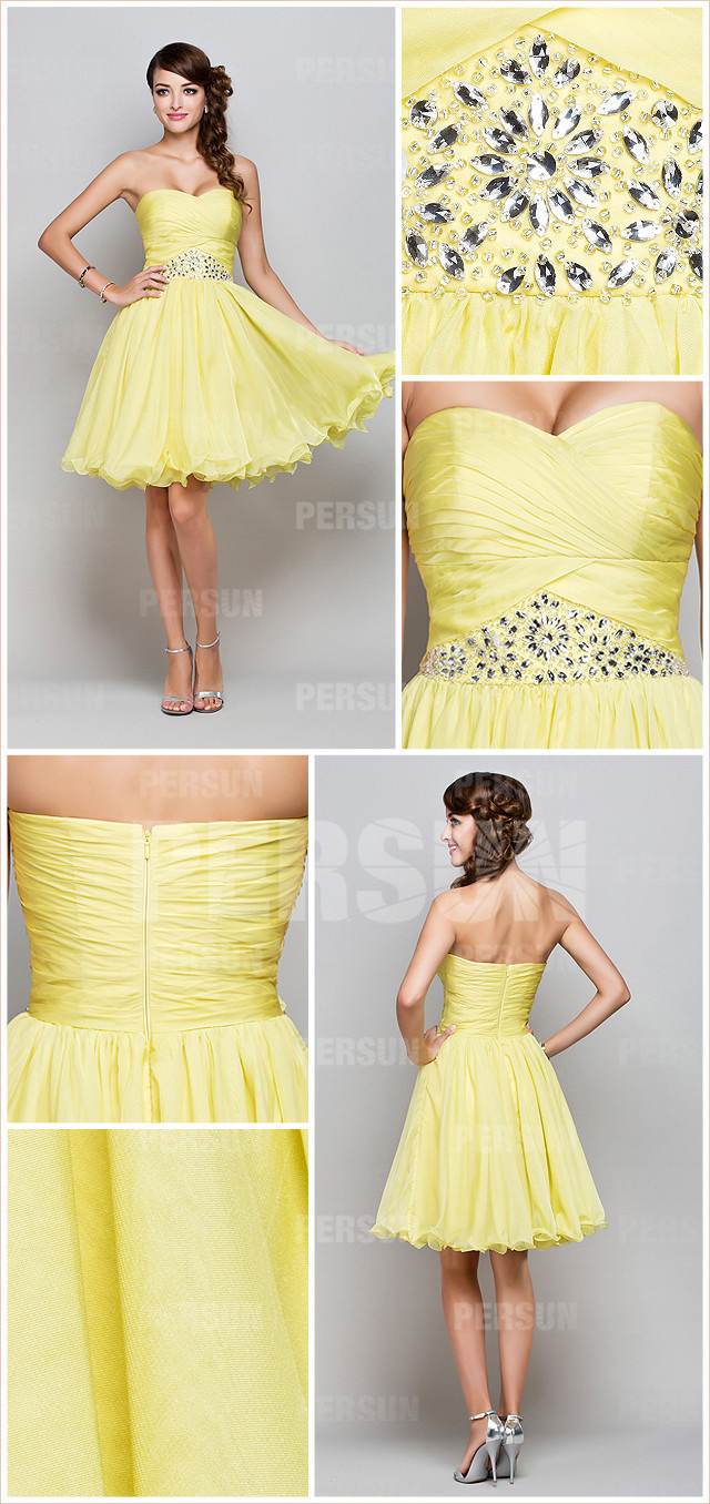Short cocktail dress in yellow tone with beaded details