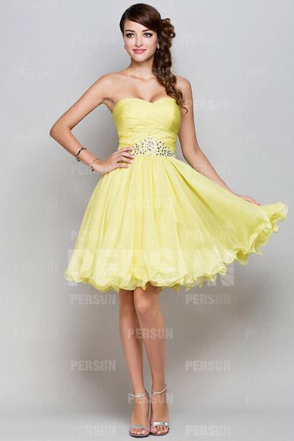 Elegantes A Linie Gelbes Herz Ausschnitt Kurzes Abendkleider Persun