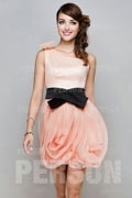 Champagne Tone One Shoulder Bridesmaid dress with a large rose skirt
