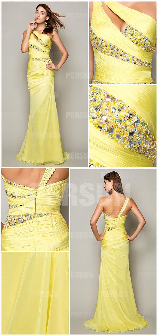 style robe jaune découpée pas cher moualnte ornée de strass