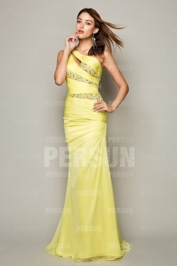 Dressesmall Mordern Yellow Beading One Shoulder Full length Prom Dress