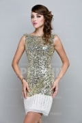 Thigh high Short Formal Dress in Sequin with Draping
