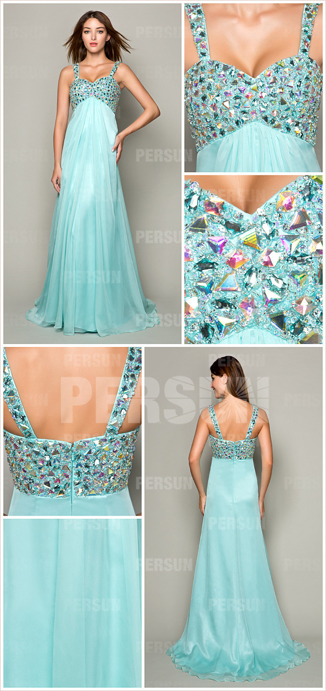 Blue long empire straps beaded bodice formal dress