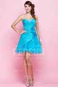 Blue tone taffeta cocktail Dress with flowers ornaments