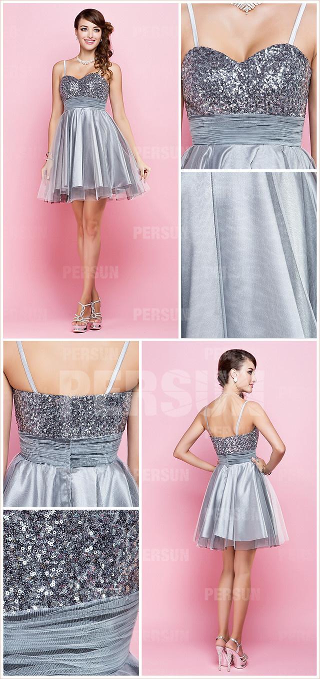 Sequined bodice gray toned a line short sequins formal dress detail design