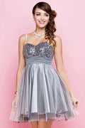 Sequined bodice gray toned formal dress