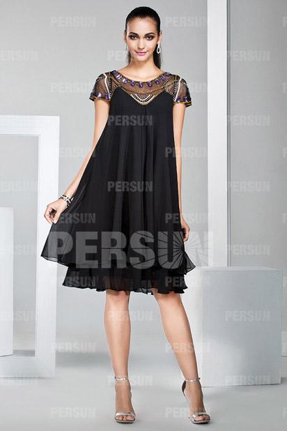 Knee length Little black dress with Cap Sleeve