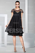 Knee length Little black dress with Cap Sleeve