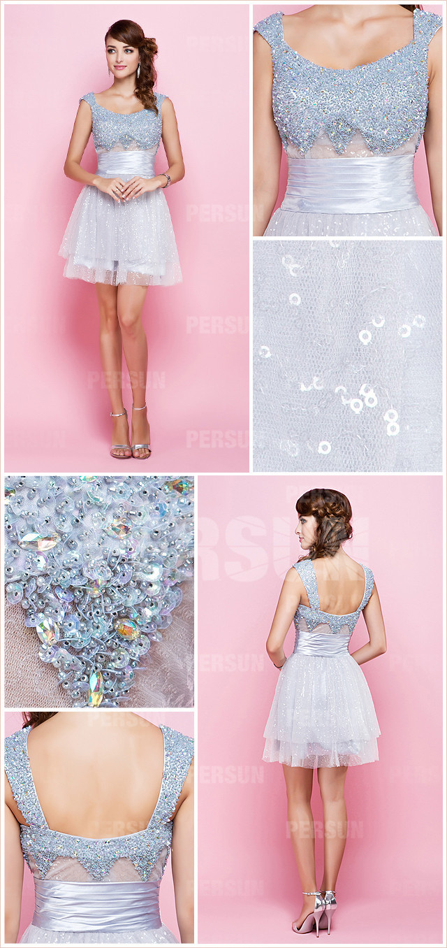 Blue A line Short Straps Sequined Formal Dress