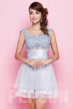 Robe courte argentée pour soirée ou mariage