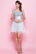 A line Short Straps Sequined Formal Dress Trendy