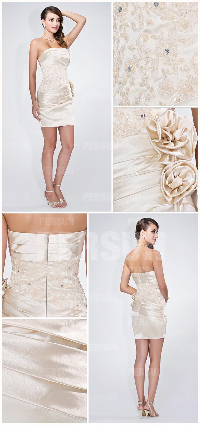 white short flowers cocktail dress details