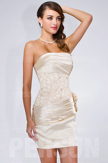 Sexy Trägerlos Etui-Linie Kurz Cocktailkleid aus Satin Persun