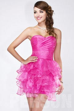 Mini robe de bal fuchsia bustier jupe à volants