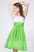 Short white and Green color blocked Formal Bridesmaid dress