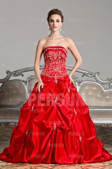 Luxus rotes Trägerloses Ball gown Bodenlanges Ballkleid Persun