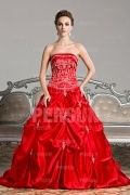 Red princess formal dress with pick up skirt and embroidery