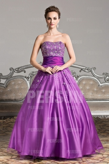 Dressesmall Purple tone princess dress with beaded top and sequins ornaments