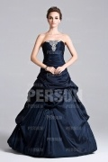 Princess evening dress with pick up skirt and appliques pleated bust