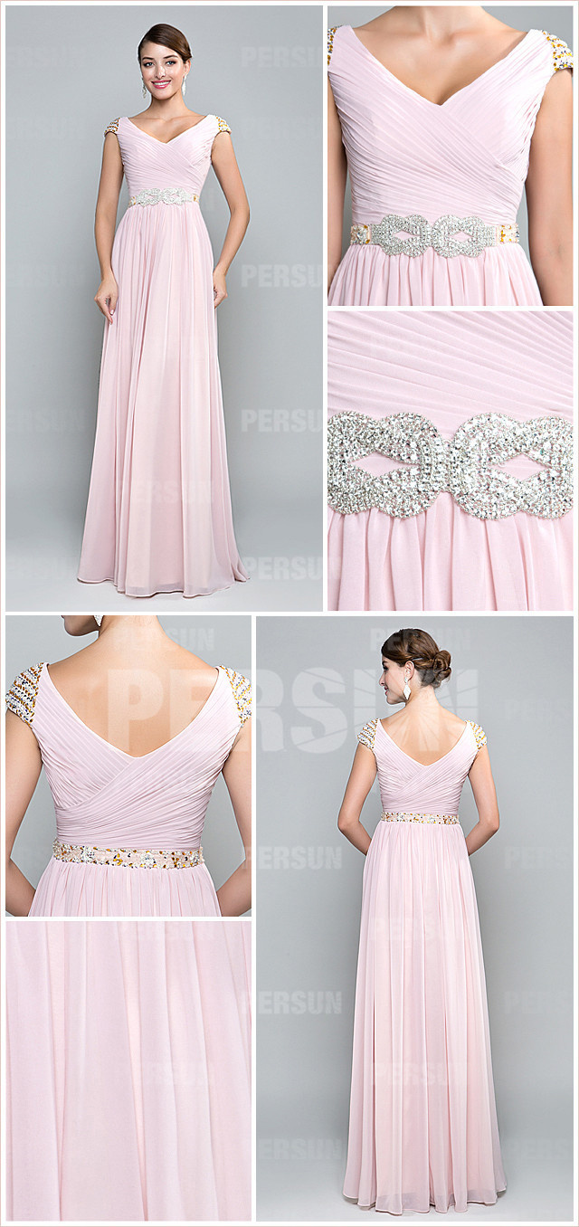 Simple v neck cap sleeves pink long chiffon formal dress with cap sleeves detail design