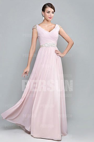 V Neck Cap Sleeves Pink Long Chiffon Bridesmaid Dress