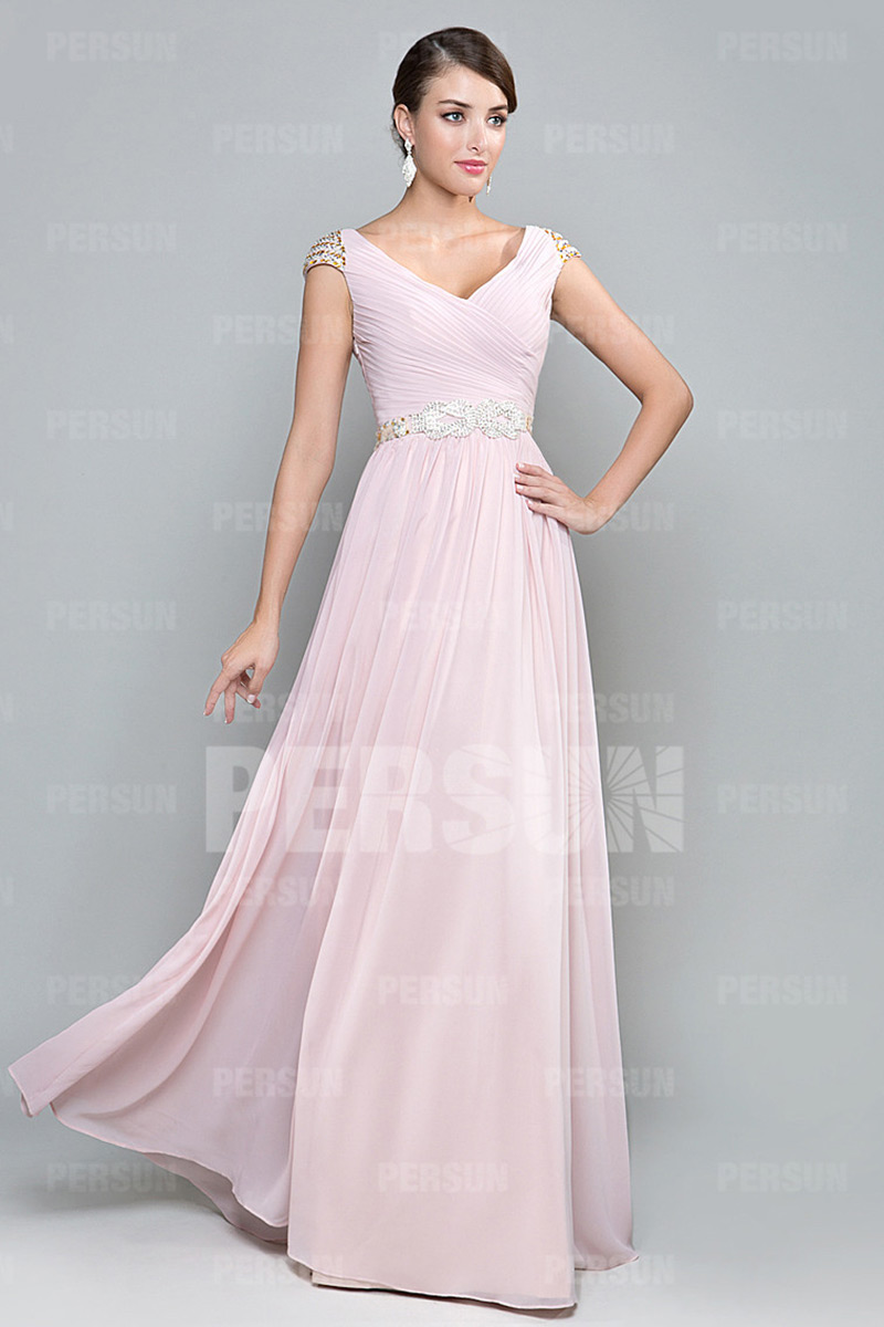 A-Linie V-Ausschnitt Perle Ruching rosa lang gefalten Abendkleid aus Chiffon