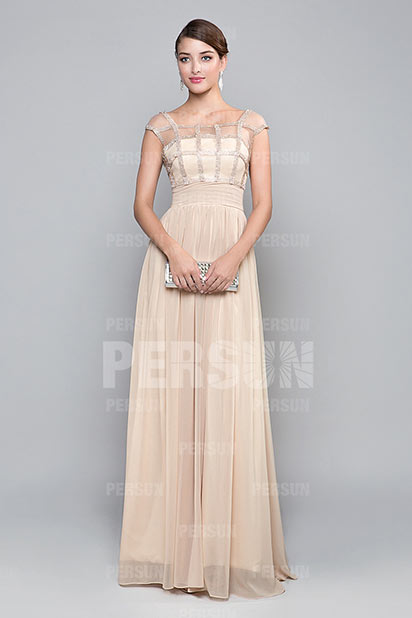 Dressesmall Chic Sheer Cap Sleeves Long Formal Dress in Cream