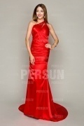 One Shoulder Sexy Red Tone Full length Formal Evening Dress