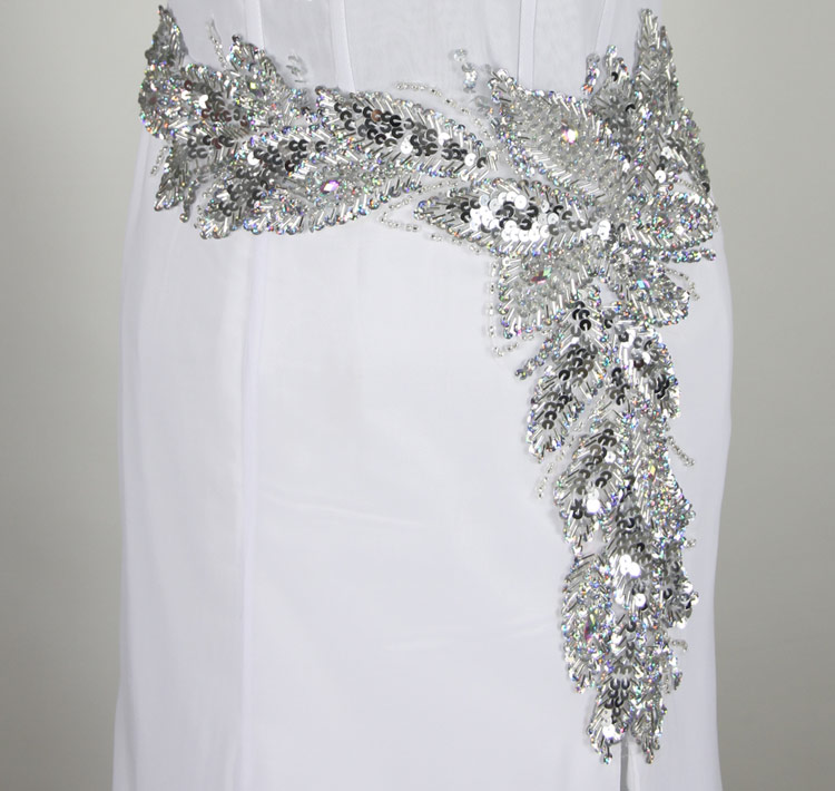 Sheer waist Formal Dress in white with Beaded Sequins bottom details