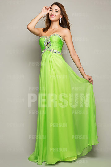 Dressesmall Green tone Ruched bodice Graduation Formal Dress with Colorful Beading