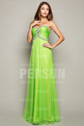 Green tone Ruched bodice Graduation Formal Dress with Colorful Beading