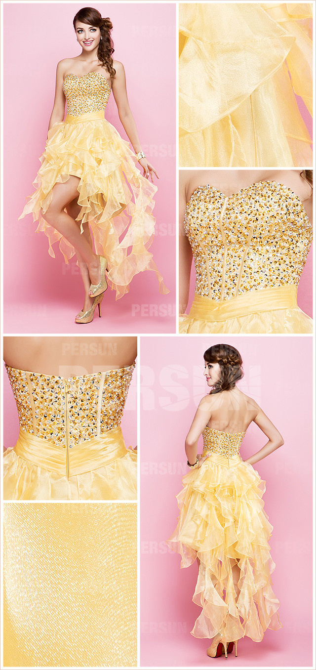 Yellow tone High low Corset Short Formal Cocktail Dress with Beading