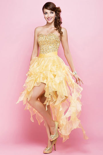 Dressesmall Yellow tone High low Corset Short Prom Dress with Beading