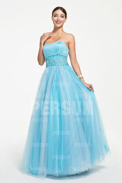 Prinzessin Herz-Ausschnitt Bodenlanges blaues Abendkleider aus Tüll Persun