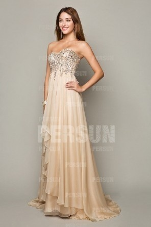 Cream Exquisite Beading Prom Dress with Dissymmetrical Skirt