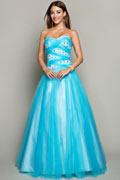 Sweetheart Ball gown Blau Tüll Bodenlang Ballkleider