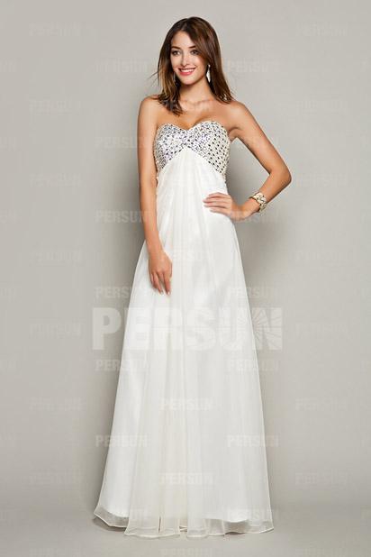Sexy Herz-Ausschnitt A-Linie langes weißes Abendkleider aus Chiffon Persun